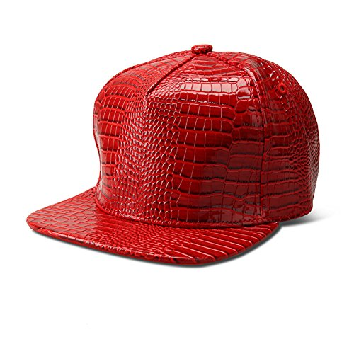 [TUVW Alligator Pattern PU Leather Male Hip Hop Hat(Red)] (Pork Pie Hat For Sale)