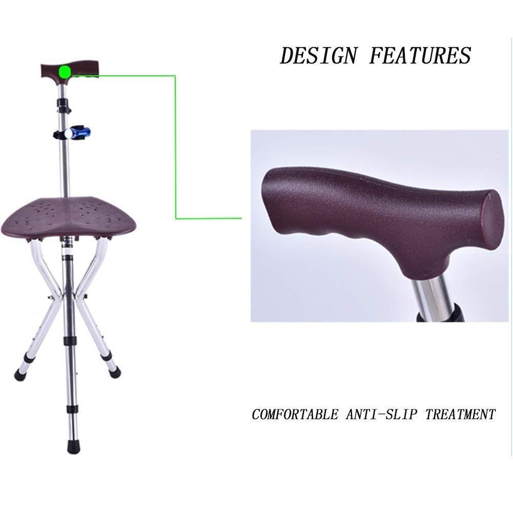 TLANG WALKER Walking Frame,Walking Frame Stick Seat Folding Seat CaneAluminum AlloyHeight AdjustableDouble Height 5 Gear AdjustmentStatic Loading 150kg for Elderly Disabled