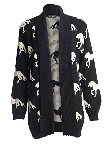 Forever Womens Long Sleeves Cross Skull Star Owl Printed Knitted Cardigan Top ()