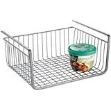 InterDesign York Lyra Pantry Under Shelf Organizer Basket – Extra Kitchen Food Storage, Silver