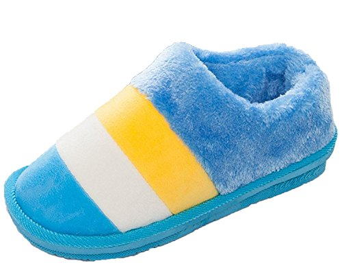 Minetom Damen Herren Winter Herbst Warm Hausschuhe Baumwolle Pantoffeln Innenschuhe Anti Rutsch Closed Heel Slippers Blau Gelb