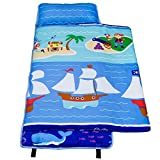 Wildkin 100% Cotton Nap Mat, Olive Kids by Children's Cotton Nap Mat with Built in Blanket and Pillowcase, Pillow Insert Included, 100% Cotton, Children Ages 3-7 years – Pirates