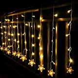 indoor icicle lights led - Star Curtain Lights, 8 Function 100 LED 6.6ft Starry Hanging Icicle Twinkle Fairy String Lights for Bedroom Christmas Xmas Indoor Outdoor Room Window Wedding Party Decoration(Warm White)