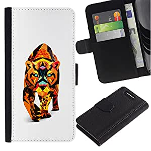 Planetar® Colorful Pattern Flip Wallet Leather Holster Protective Skin Case Cover For Sony Xperia Z3 Compact /D5803 / D5833 ( Polygon Triangle Colorful Puma Cougar Lion Cat )
