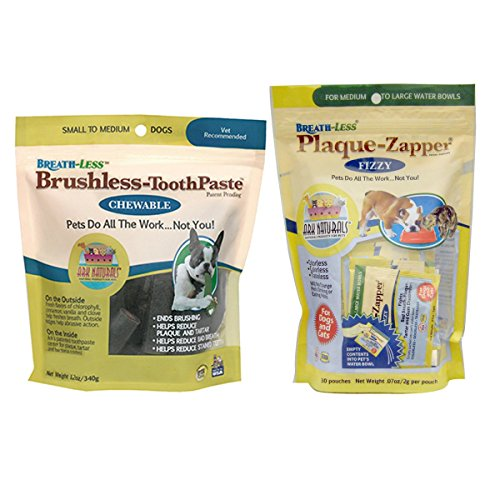 Ark Naturals Breath-Less Brushless-ToothPaste and Ark Naturals Breath-Less Plaque-Zapper Fizzy for Dogs and Cats, 12 oz. (320g) and 30 Pouches .07 oz (2 g)