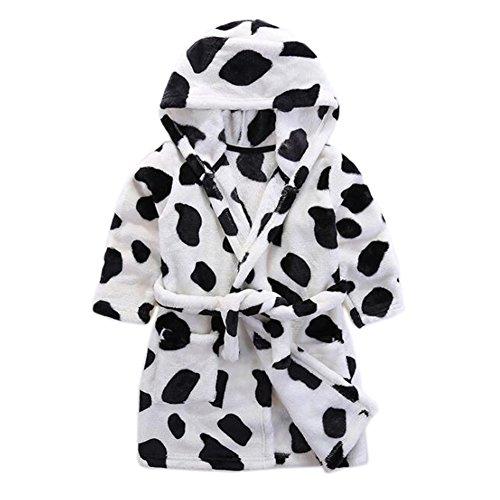 JIANLANPTT Winter Children's Bathrobes Kids Boy Girl Cow Pattern Flannel Robes Hooded Bath Pajamas White Black 3-4years