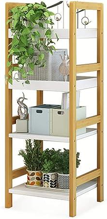 Estante de baño Estante De Escalera De Bambú, sobre El Estante De Almacenamiento del Inodoro Estante De Flores Bambú Estantería Blanca De Bambú para Baño Cocina Sala De Estar Jardín: Amazon.es: Hogar