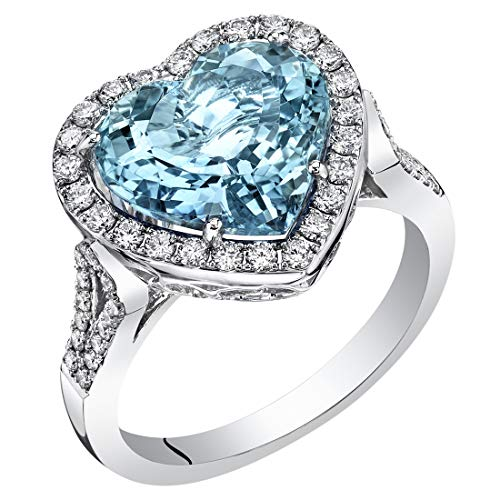 Santa Maria Dress - 14K White Gold IGI Certified Aquamarine and Diamond Ring 5.05 Carats Total Weight Heart Shape