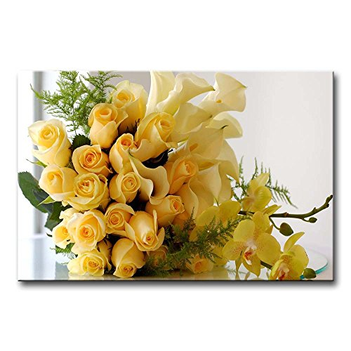 (So Crazy Art - Canvas Print Wall Art Painting For Home Decor,Yellow Roses Calla Lilies And Orchids Paintings Modern Giclee Stretched And Framed Artwork Oil The Picture For Living Room Decoration,Flower Pictures Photo Prints On Canvas)