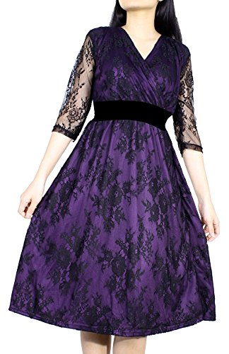 Women Vintage Floral Lace Wedding Party Formal Evening Cocktail 3/4 Long Sleeve Plus Size Dress (2XL, Black Lace/Purple 2) (3/4 Birthday Sleeve)