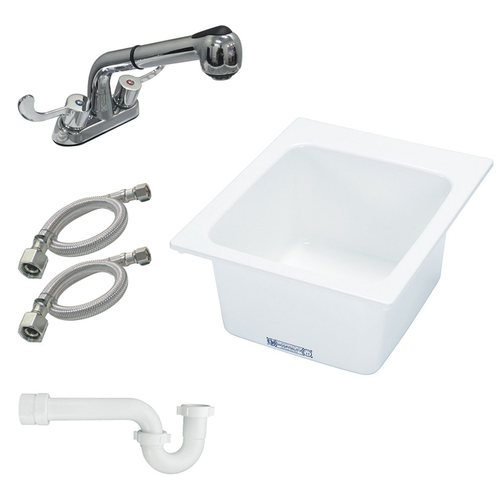 Musv0|#Mustee K-11-FP Mustee Utility Sink with Pull-Out Faucet, White, by Mustee