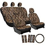OxGord 17pc Set Zebra Animal Print Auto Seat Covers Set - Front Low Back Buckets - Rear Split Bench - Orange & Black