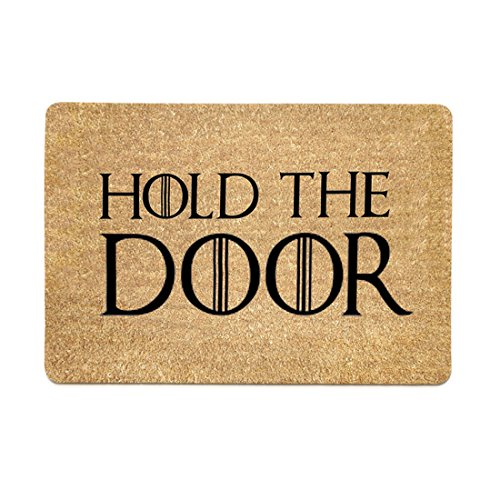 Pinji Funny Doormat Hold The Door Non-slip Rubber Entrance Mat Floor Mat Rug Indoor/Outdoor/Front Door/Bathroom Mats Personalized 23.6(L) x 15.7(W)inch 06