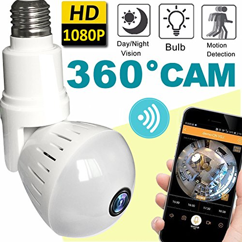 2018 Upgrade Bulb WiFi IP Camera Wireless Fisheye Spy Hidden Cameras 360 Panoramic for Home Security System Baby Nanny Pet Indoor with Night Vision Motion Detection Alarm-Smartphone Smart Home Gifts by Hyanwoo