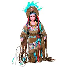 "Golden Keepsakes Collectible Heirloom Native American 24"" Porcelain Doll Cholena"