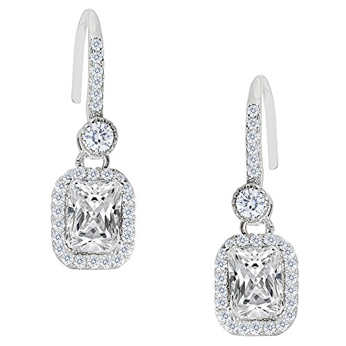 Cate & Chloe Athena 18k White Gold Emerald Cut CZ Halo Drop Earrings, Dangling Crystal Square Earring Set for Women, Silver Cubic ZIrconia Halo Earrings, Wedding Anniversary Jewelry ()
