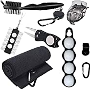RE GOODS Golf Accessories for Men and Women - Microfiber Towel, Ball Holder, Golf Club Brush w/Groove Cleaner,