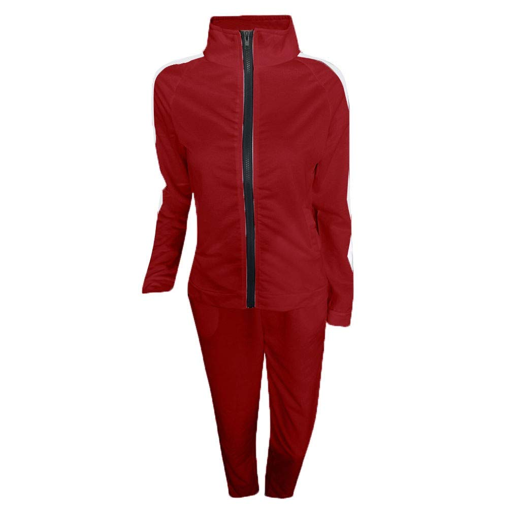 ITISME Survêtement Femmes Mode Casual DécontractéeBande Fermeture éclair Manche Longue Pullove Sport Hauts + Pantalons Longs Ensemble A92-rouge