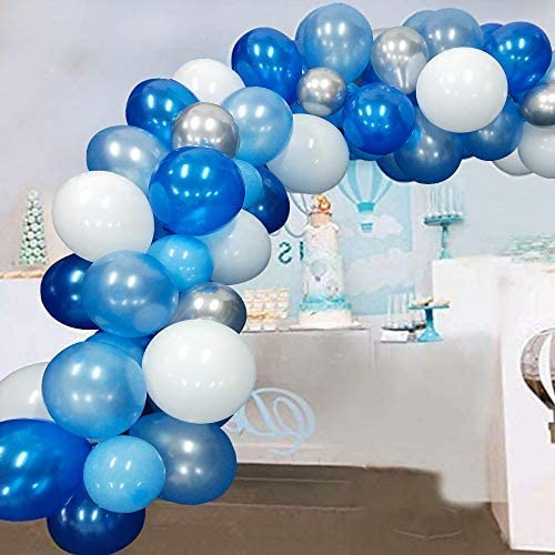 Amazon Com Blue Balloon Garland Arch Kit White Blue Silver Balloons For Baby Boy Shower Wedding Birthday Decorations 117pcs Toys Games