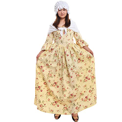 (GRACEART Pioneer Colonial Women Costume Dress Yellow)