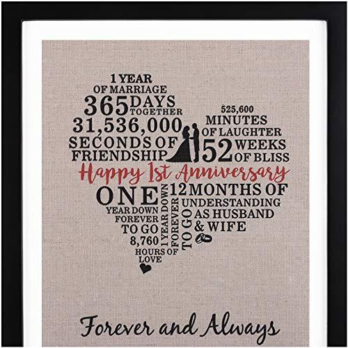 First Anniversary Gift - Framed 1st Anniversary Heart Burlap Gift 11