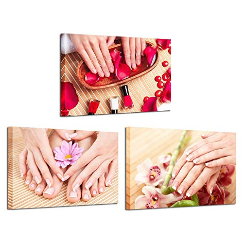Manicure & Pedicure Spa - Kreative Arts Canvas Prints Wall Art Hands Spa Pictures Beauty Salon Manicure Concept Modern Wall Decor Stretched Gallery Canvas Wrap Giclee Print Ready to Hang 16x24inchx3pcs