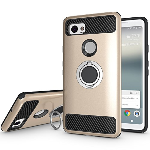 Newseego Compatible Google Pixel 2 XL Case with Armor Dual Layer 2 in 1 with Extreme Heavy Duty Protection and Finger Ring Holder Kickstand Fit Magnetic Car Mount for Google Pixel 2 XL-Golden