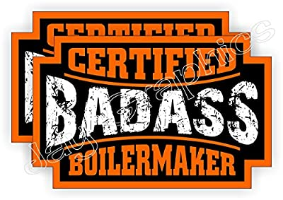 (2) Badass BOILERMAKER Hard Hat Stickers | Bad Ass Motorcycle Helmet Decals | Boiler Maker Crane Construction Welding Labels Badges