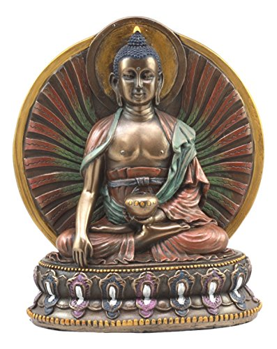 Ebros Bodhisattva Shakyamuni Meditating Buddha On Lotus Throne With Fire of Enlightenment Statue 6