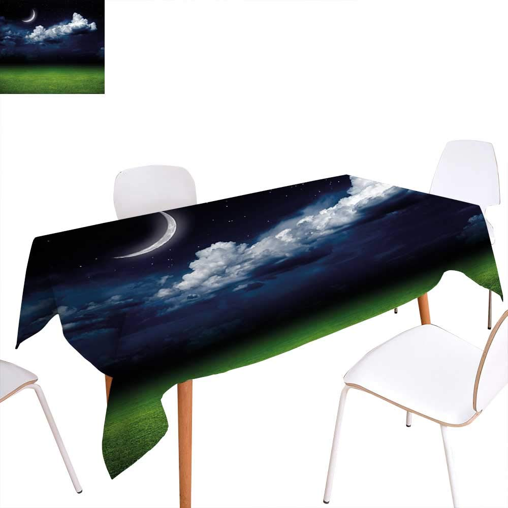 familytaste ナイトダイニングテーブルトップデコレーション ファンタジー 月と雲 オーバーカーム 水上 海の景色 ドラマティッククラウディ ダークスカイ テーブルカバー キッチン ネイビーブルー ホワイト ブラック W52