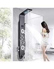 LED douchepaneel met bidet-functie van roestvrij staal met temperatuurweergave en 2 massagefuncties Kleur: Zwart