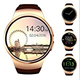 AWOW Bluetooth Smart Watch 1.3 inches IPS Round Touch Screen Water Resistant Smartwatch Phone with SIM Card Slot Sleep Monitor Heart Rate Monitor and Pedometer for IOS and Android Device Gold