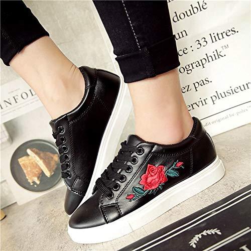 Cordones Blanco Zapatillas Raso Cuero Negro de de Mujer Black Talón ZHZNVX Flor de Zapatos Punta Plano imitación con de Deporte Redonda de H8pAnq4w