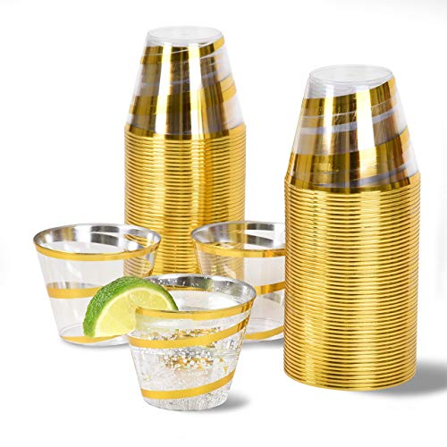 100 Gold Plastic Cups ~ 9 Oz Clear Plastic Cups Old Fashioned Tumblers ~ Gold Swirls Cups Disposable Fun Cups ~ Fancy and Beautiful Cups with Gold Swirls
