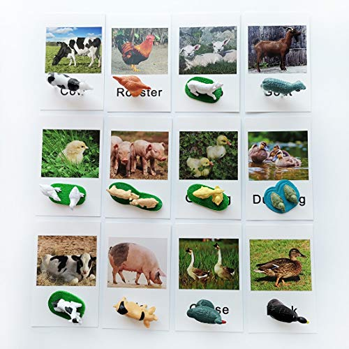 Montessori Animal Match - Miniature Farm Animal Toy Figurines with Matching Cards Montessori Language Materials Preschool Learning Toy NEWT033