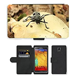 PU LEATHER case coque housse smartphone Flip bag Cover protection // M00130134 Escarabajo Negro Bug Cerambycidae // Samsung Galaxy Note 3 III N9000 N9002 N9005