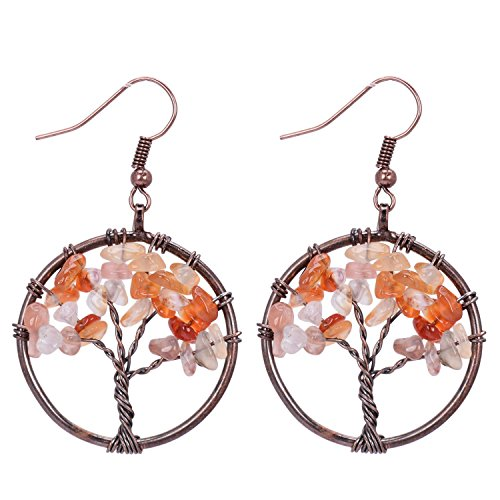 Sedmart Tree of Life Red Agate Pendant Earrings Wire Wrapped Wisdom Ancient Copper Gemstone Jewelry Halloween Gifts