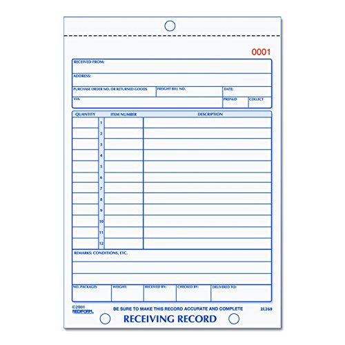 - Rediform Receiving Record, Carbonless Triplicate, 5.5 x 7.5 Inches, 50 Sets per Book (2L260)