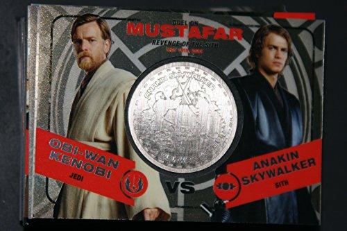 2015 Star Wars Chrome Perspectives Jedi vs. Sith Trading Cards Silver Medallion Obi-Wan Kenobi vs. Anakin Skywalker MUSTAFAR Fight Poster Version
