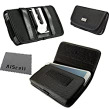 XXL Large Horizontal Holster Black Nylon Velcro Heavy Duty Metal Belt Clip Pouch + AIS cell phone Microfiber Cleaning Cloth For Samsung Galaxy S4 / S3 with Otterbox Defender / Commuter / Symmetry / Spigen Armor / protective cover case on (By All_Instore)