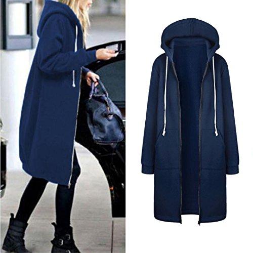Women's Autumn Winter Fashion Warm Sweatshirt, LLguz Zipper Hoodies Long Sleeves Coat Jacket Pockets Outwear (XXXL, Blue) by LLguz (Image #1)