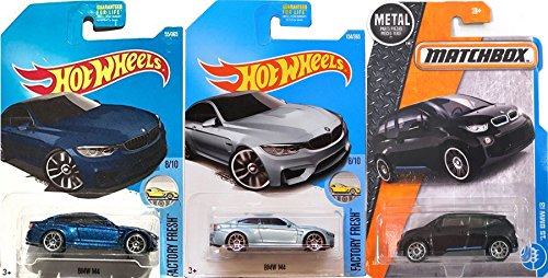 Bmw Csl Wheels - Hot Wheels & Matchbox BMW Collection '15 Matchbox i3 Black + M4 Series Blue Factory Fresh #154 2017 + #55 M4 Dark Blue in Protective Cases Bundle