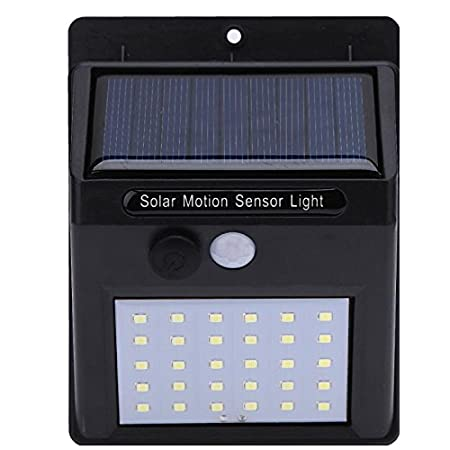 jogger 20 LED Solar Power PIR Motion Sensor Wall Light Waterproof Energy Saving Street Yard Path (Black) - Pack of 1