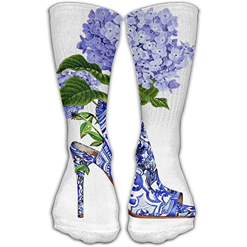 Welcome Hydrangea (ZHONGJIAN Unisex Knee High Long Socks Hydrangea Flower High-heeled Design Cosplay High Long Stockings 30cm)
