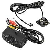 ALLCACA Car Backup Rear Camera – 3 in 1 Car Video Parking Radar Sensor Assistance with 2 Radar Detector Sensors Wide Angle Car Camera BiBi Alarm Indicator, Black