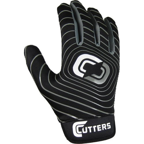 Rookie Football Receiver Glove (Cutters Rookie Receiver 2.0 Gloves (Black, Youth Medium))