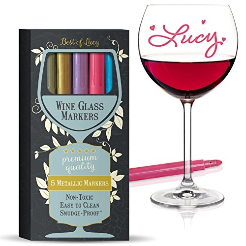 Wine Glass Markers (Metallic Colors 5 Pens Pack) Best Alternative To Wine Charms (Wine Glass Writing Pens)