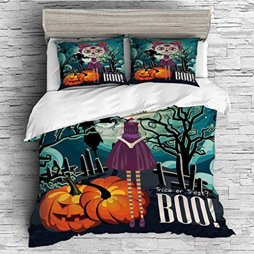SCOCICI King Size Duvet Cover Set/Halloween,Cartoon Girl with Sugar Skull Makeup Retro Seasonal Artwork Swirled Trees Boo Decorative,Multicolor / 3 Piece Bedding Set