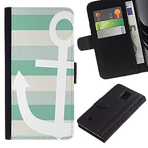 iBinBang / Flip Funda de Cuero Case Cover - Teal White Boat Stripes Pattern - Samsung Galaxy Note 4 SM-N910