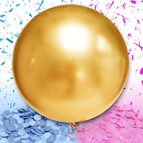 WeTheParty Gender Reveal Balloon - Huge 36 Balloon for Baby Shower | Pink and Blue Confetti Included | Premium Baby Shower Supplies